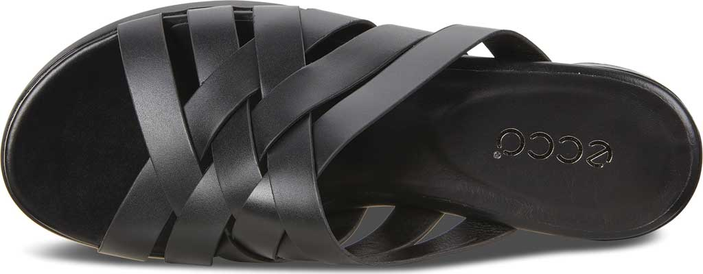 Women's ECCO Flat Strappy Slide, Black Leather, large, image 5
