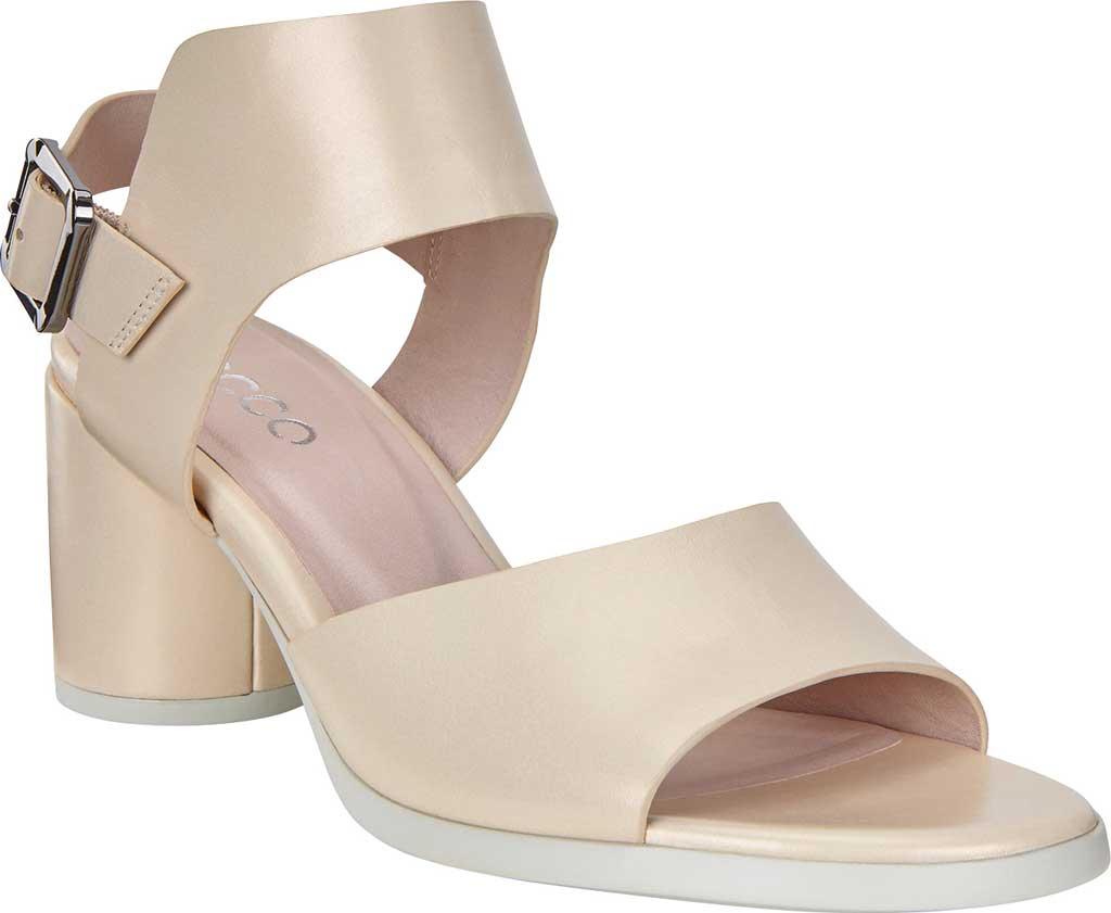 Women's ECCO Shape 65 Block Ankle Strap Sandal, Vanilla Metallic Leather, large, image 1