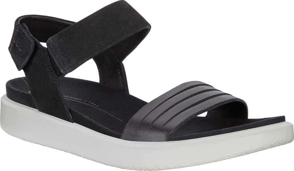 Women's ECCO Flowt Strappy Sandal, Black/Black Leather, large, image 1