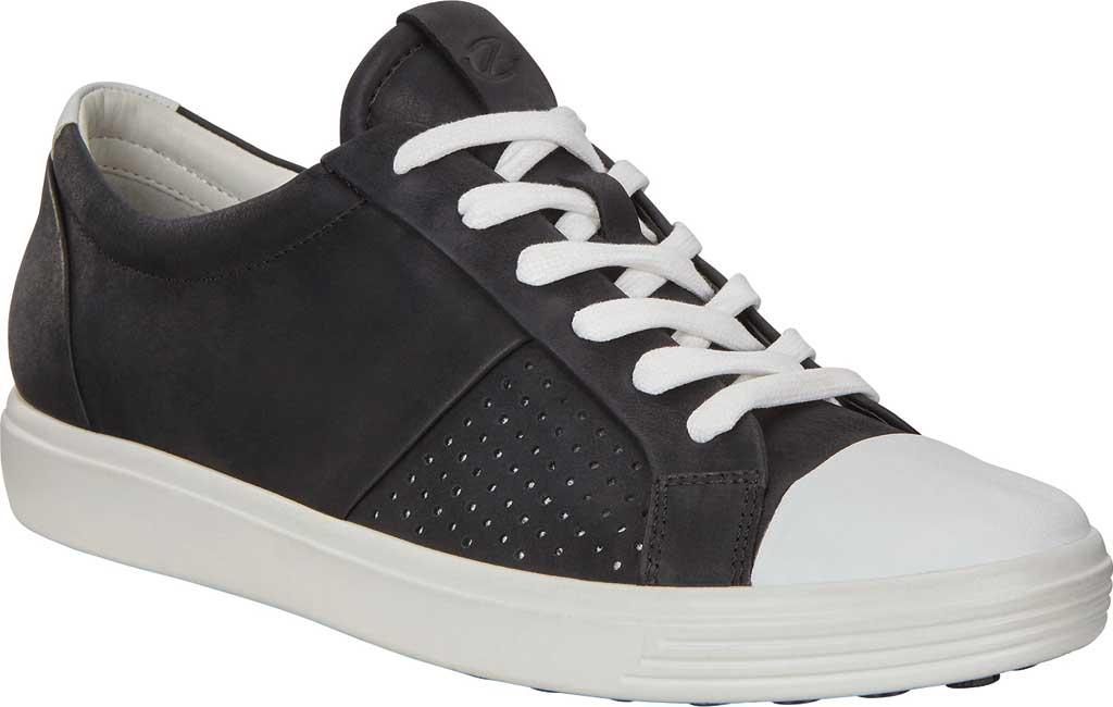 Women's ECCO Soft 7 Cap Toe Sneaker, White/Black Nubuck, large, image 1