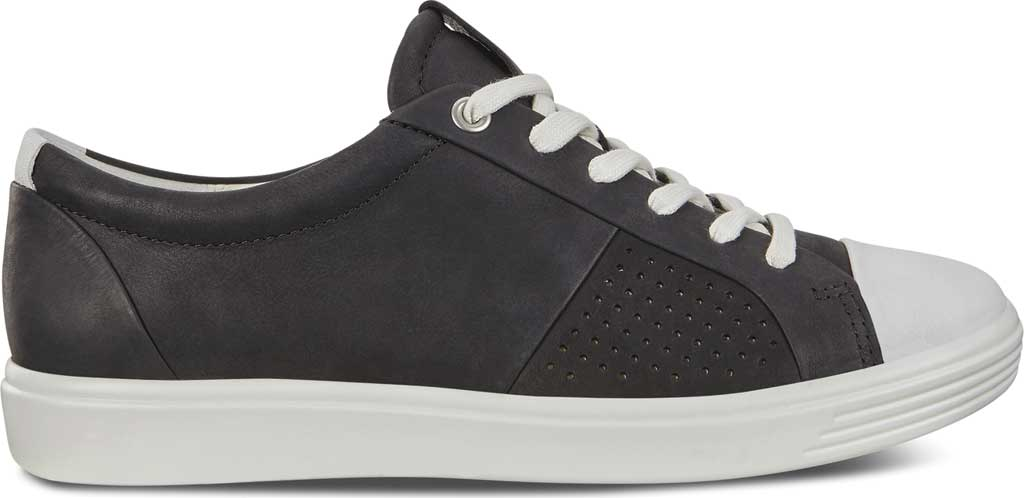Women's ECCO Soft 7 Cap Toe Sneaker, White/Black Nubuck, large, image 2