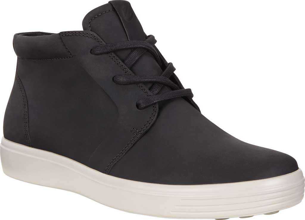 Men's ECCO Soft 7 Chukka High Top, Black Leather, large, image 1