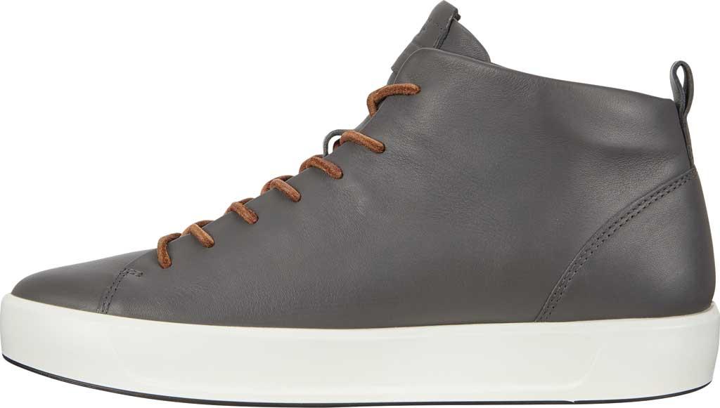 Men's ECCO Soft 8 Mid Cut Sneaker, Magnet Leather, large, image 3