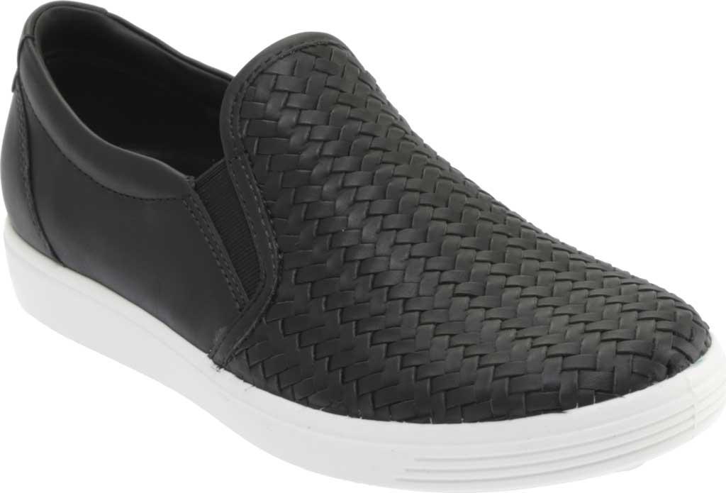 Women's ECCO Soft 7 Woven Slip On II Sneaker, Black Top Grain Leather, large, image 1