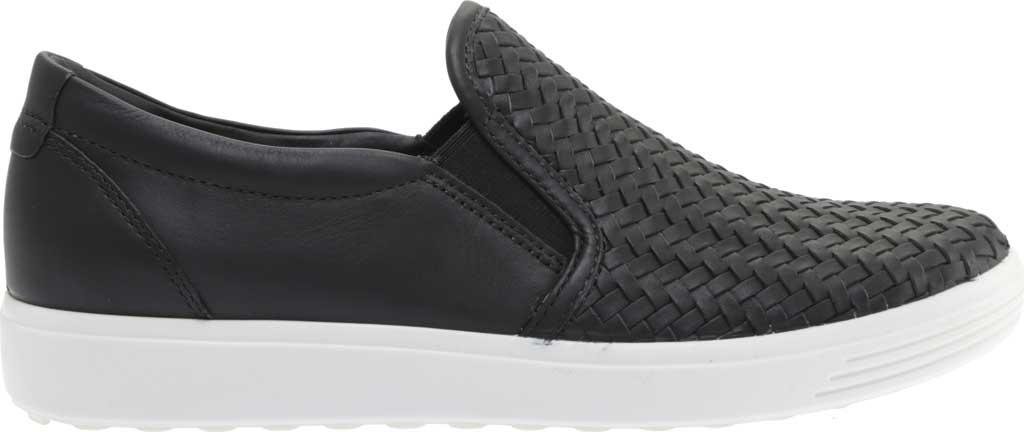 Women's ECCO Soft 7 Woven Slip On II Sneaker, Black Top Grain Leather, large, image 2