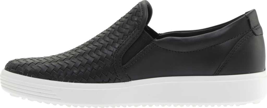 Women's ECCO Soft 7 Woven Slip On II Sneaker, Black Top Grain Leather, large, image 3
