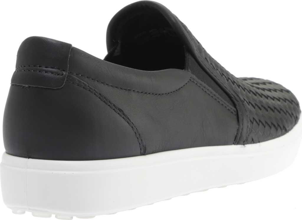Women's ECCO Soft 7 Woven Slip On II Sneaker, Black Top Grain Leather, large, image 4