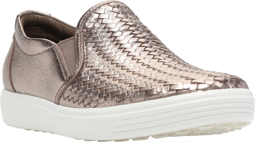 Women's ECCO Soft 7 Woven Slip On II Sneaker, Stone Metallic Cow Leather, large, image 1