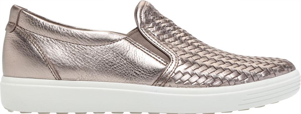 Women's ECCO Soft 7 Woven Slip On II Sneaker, Stone Metallic Cow Leather, large, image 2