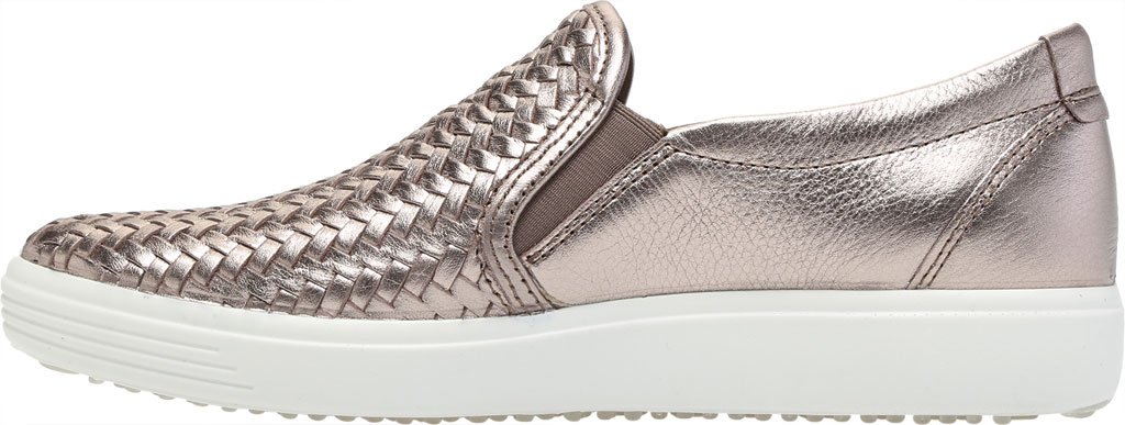 Women's ECCO Soft 7 Woven Slip On II Sneaker, Stone Metallic Cow Leather, large, image 3