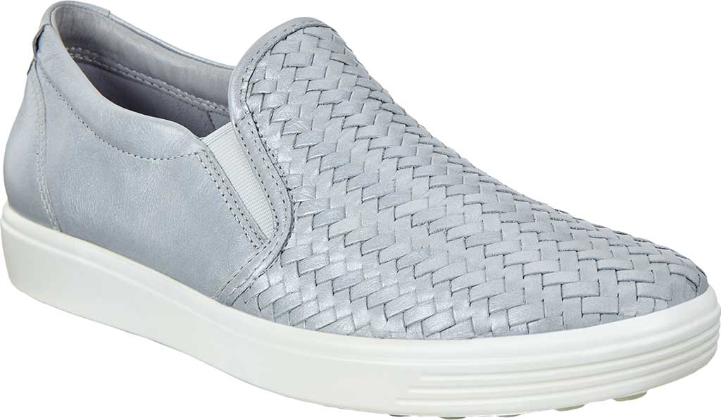 Women's ECCO Soft 7 Woven Slip On II Sneaker, Silver/Grey Metallic/Cow Top Grain Leather, large, image 1