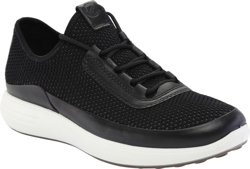 Men's ECCO Soft 7 Runner Summer Sneaker, Black/Black Nubuck/Textile, large, image 1