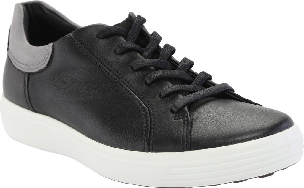 Men's ECCO Soft 7 Street Sneaker, Black/Titanium Cow Leather, large, image 1