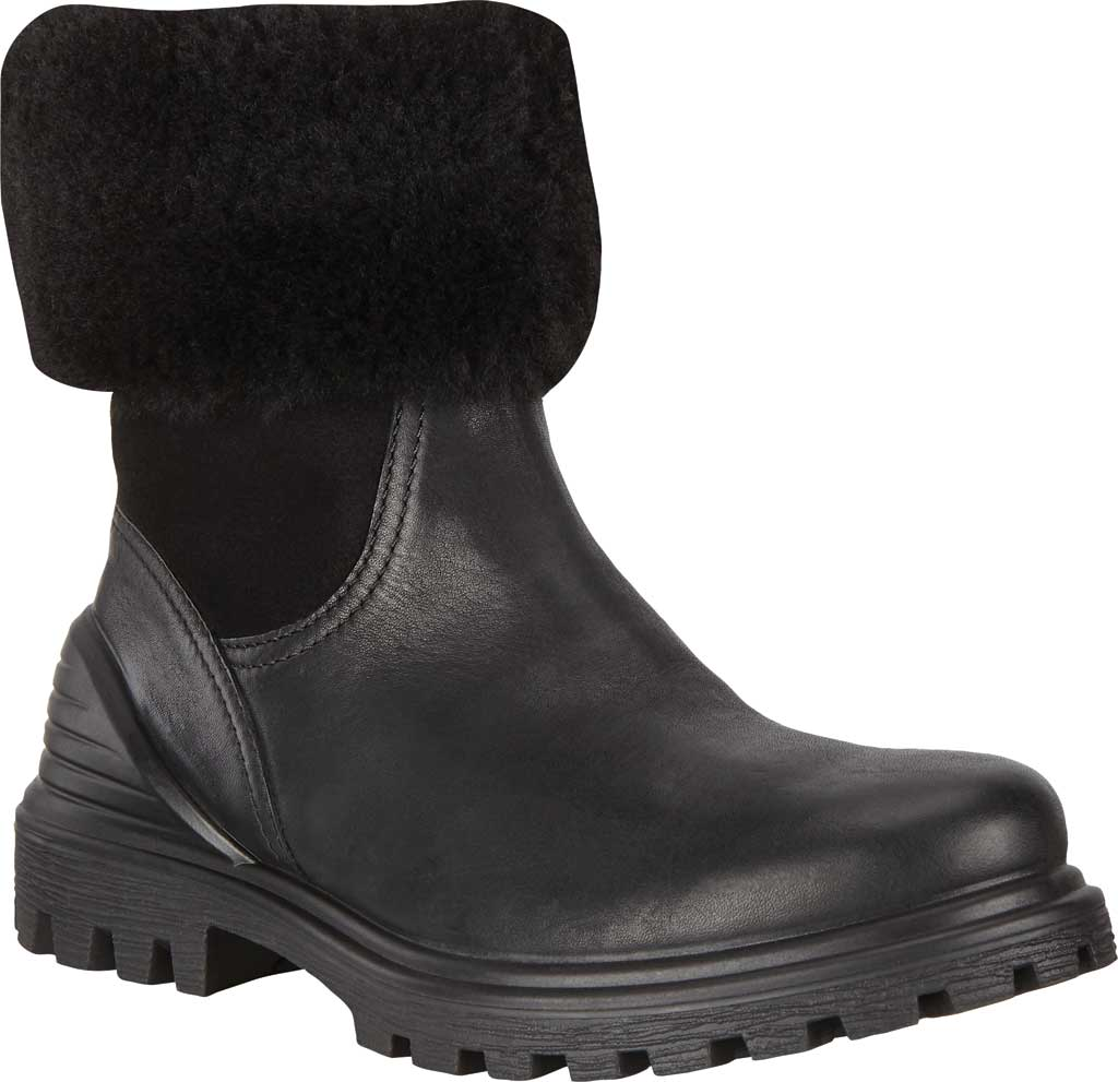 Women's ECCO Tredtray Pull On Shearling Boot, Black/Black Cow Leather/Lamb Leather/Wool, large, image 1