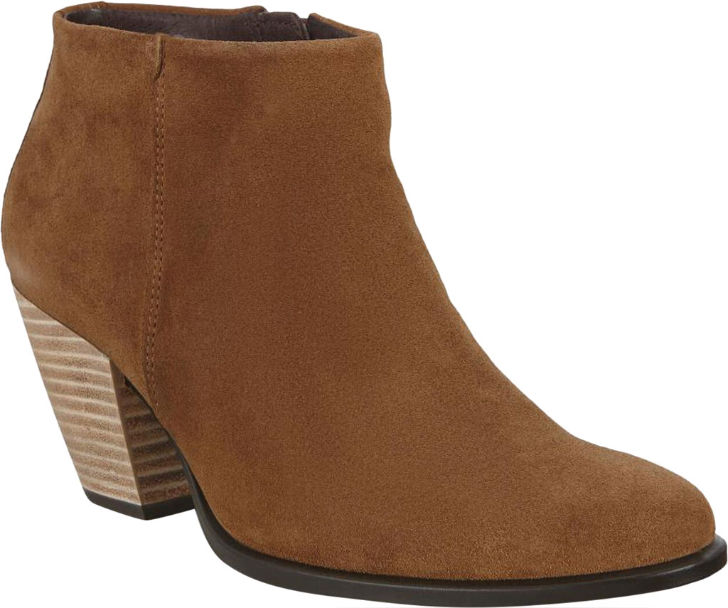 Women's ECCO Shape 55 HYDROMAX Western Ankle Bootie, Camel Calf Suede, large, image 1