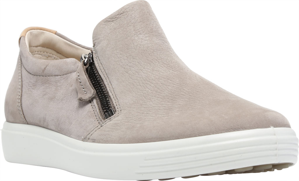 Women's ECCO Soft 7 Out Side Zip Sneaker, Warm Grey Smooth Leather/Nubuck, large, image 1