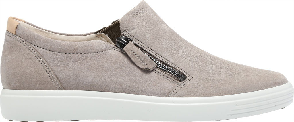 Women's ECCO Soft 7 Out Side Zip Sneaker, Warm Grey Smooth Leather/Nubuck, large, image 2