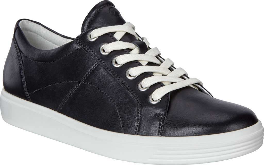 Women's ECCO Soft Classic Lace Sneaker, Black Nappa Leather, large, image 1