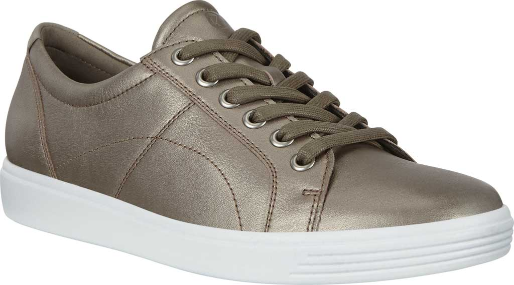 Women's ECCO Soft Classic Lace Sneaker, Stone Metallic/Warm Grey Suede/Nubuck, large, image 1