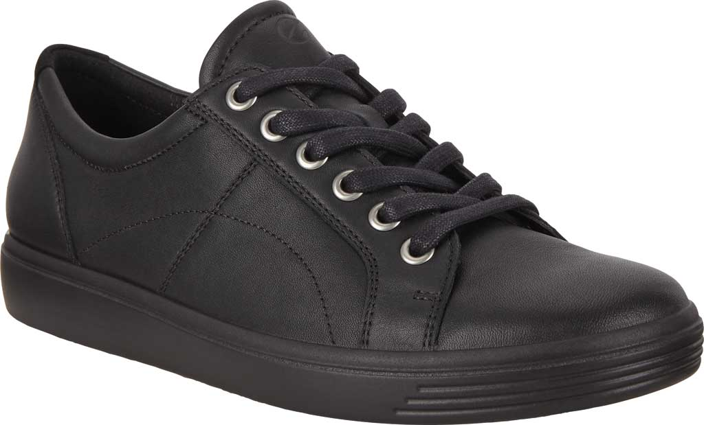 Women's ECCO Soft Classic Lace Sneaker, Black/Black/Black Suede/Nubuck, large, image 1