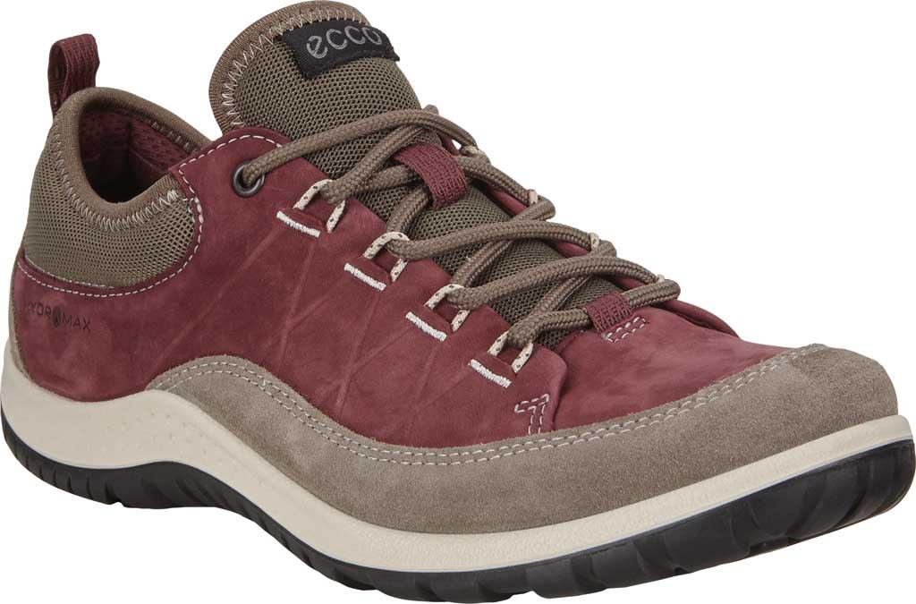 Women's ECCO Aspina Low Hydromax Water Resistant Sneaker, Warm Grey/Wine Suede/Nubuck, large, image 1