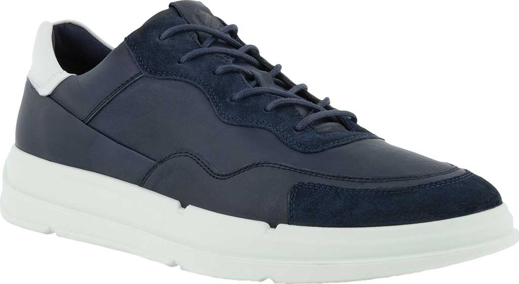 Men's ECCO Soft 10 Lace Sneaker, Navy/Night Sky/White Full Grain Leather/Suede, large, image 1