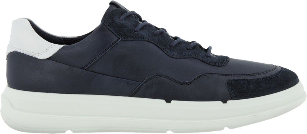Men's ECCO Soft 10 Lace Sneaker, Navy/Night Sky/White Full Grain Leather/Suede, large, image 2