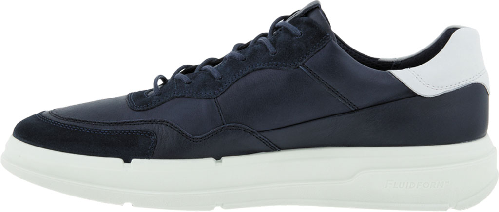 Men's ECCO Soft 10 Lace Sneaker, Navy/Night Sky/White Full Grain Leather/Suede, large, image 3