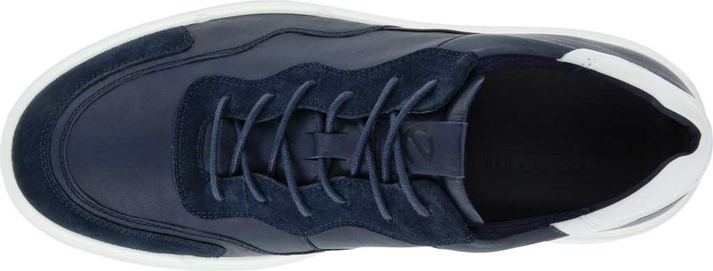 Men's ECCO Soft 10 Lace Sneaker, Navy/Night Sky/White Full Grain Leather/Suede, large, image 4