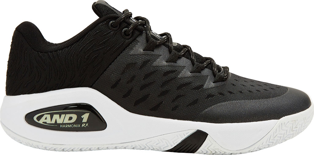 Men's AND1 Attack Low Basketball Shoe, Black/Junebug/White, large, image 1