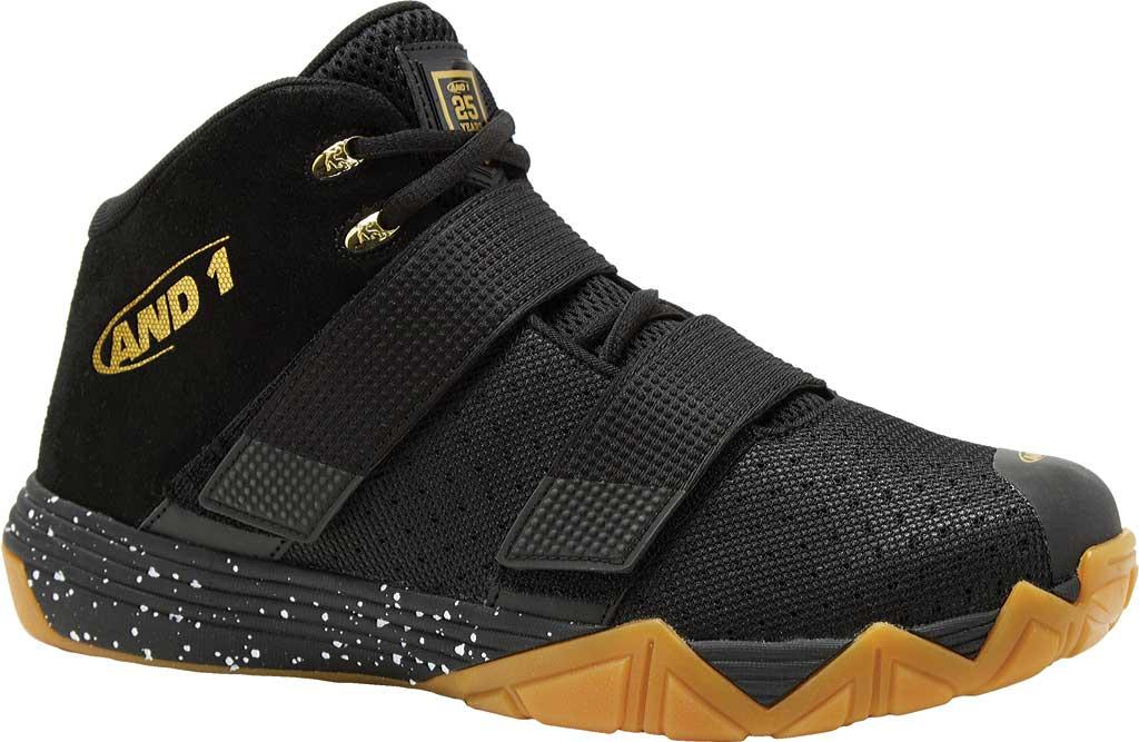Children's AND1 Chosen One II Basketball Shoe, Black/Metallic Gold/Gum, large, image 1