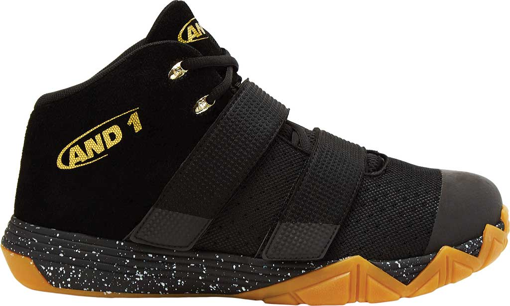 Children's AND1 Chosen One II Basketball Shoe, Black/Metallic Gold/Gum, large, image 2