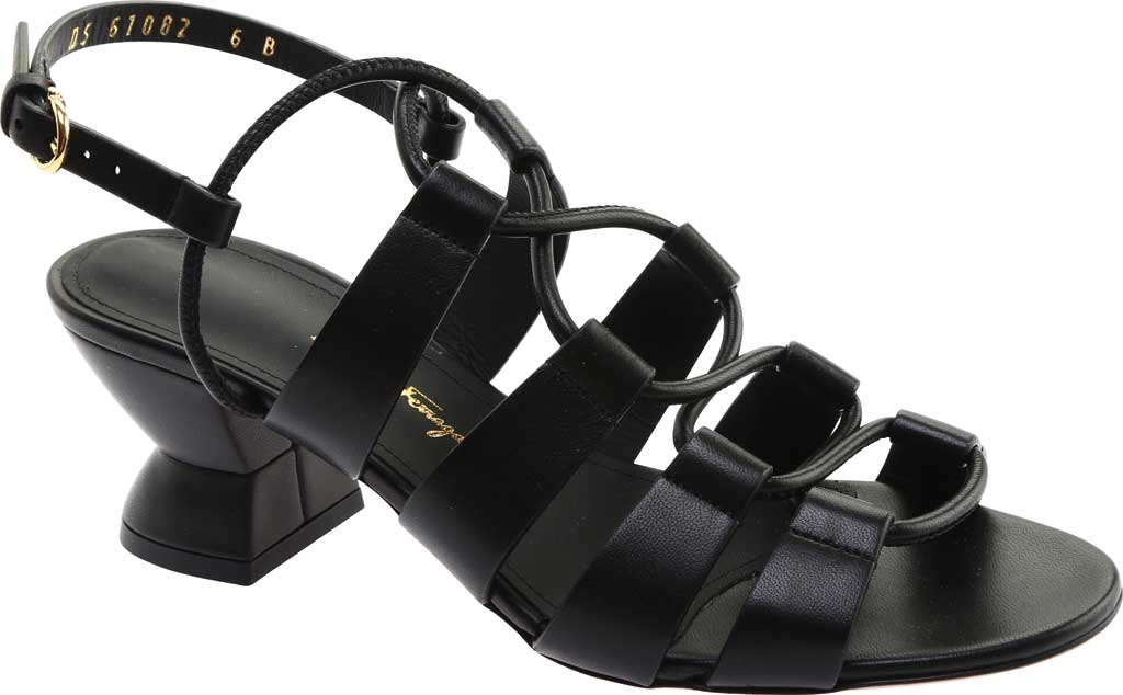 Women's Salvatore Ferragamo Sirmio 55 Cage Sandal, Nero Leather, large, image 1