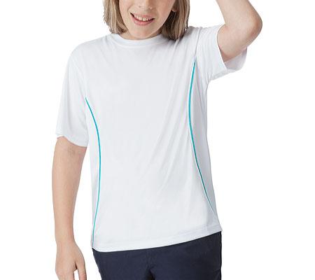 Boys' Fila Fundamental Crew, White/Turquoise, large, image 1