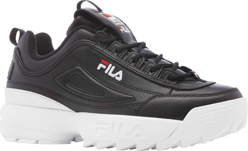Women's Fila Disruptor II Premium Sneaker, Black/White/Red, large, image 1