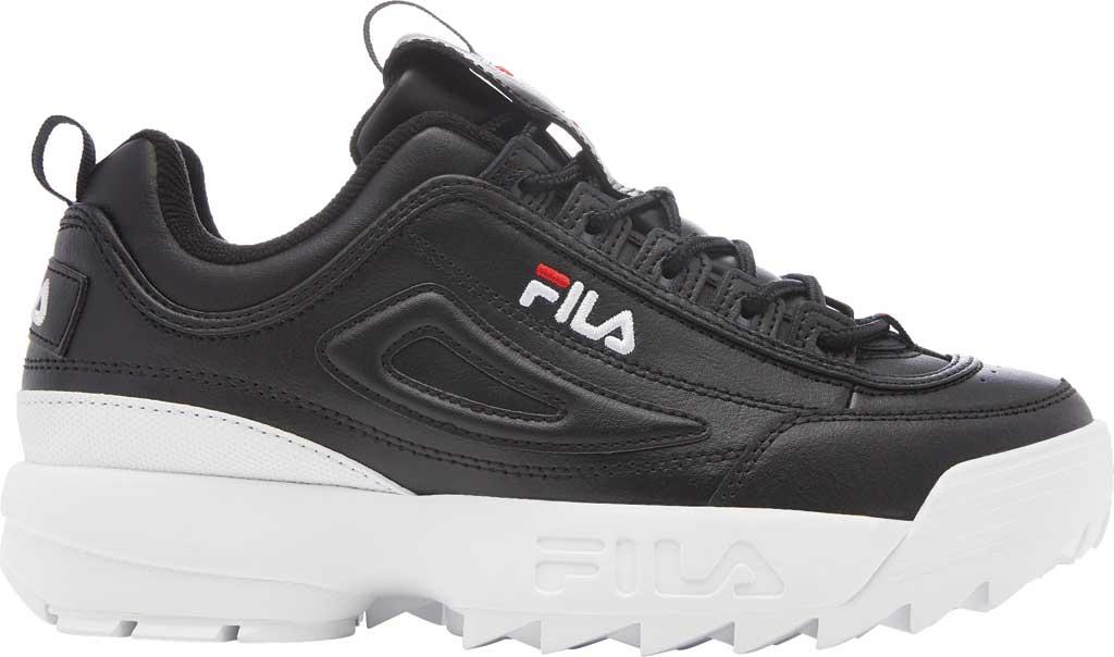 Women's Fila Disruptor II Premium Sneaker, Black/White/Red, large, image 2