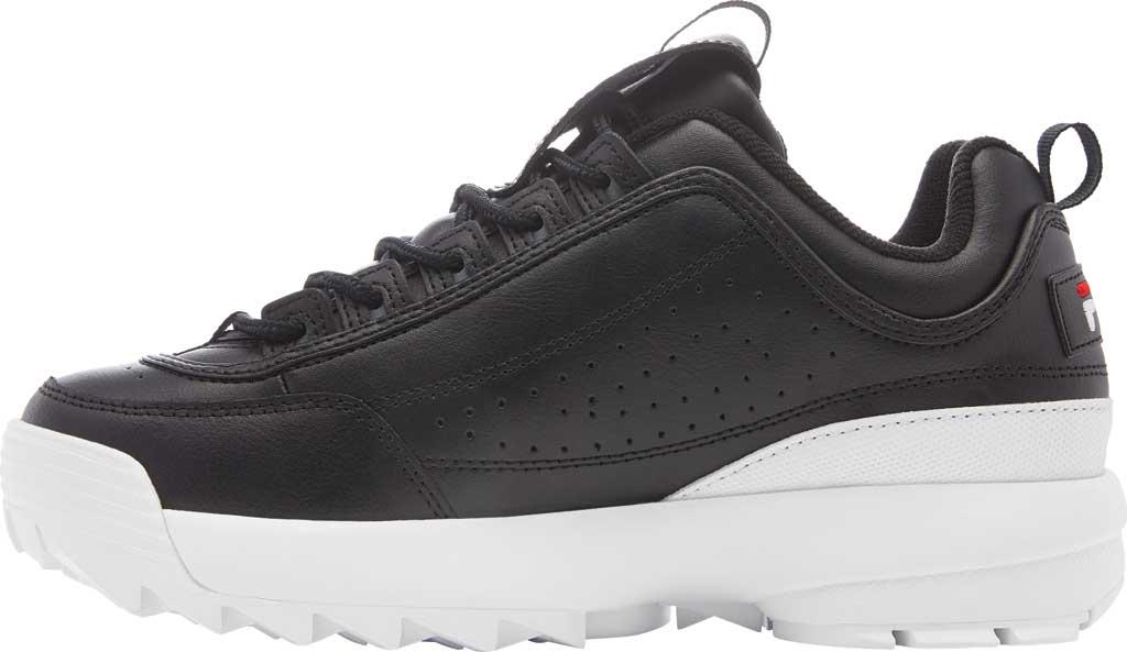 Women's Fila Disruptor II Premium Sneaker, Black/White/Red, large, image 3