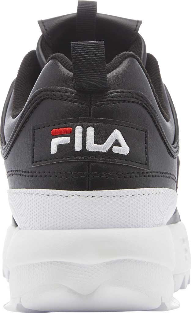 Women's Fila Disruptor II Premium Sneaker, Black/White/Red, large, image 4
