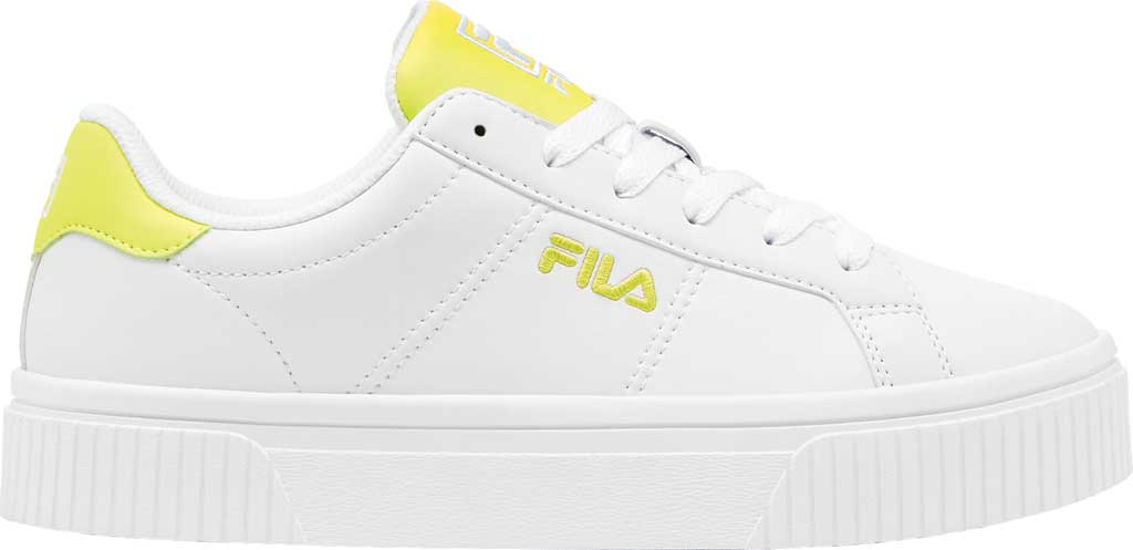 Women's Fila Panache Sneaker, White/White/Safety Yellow, large, image 1