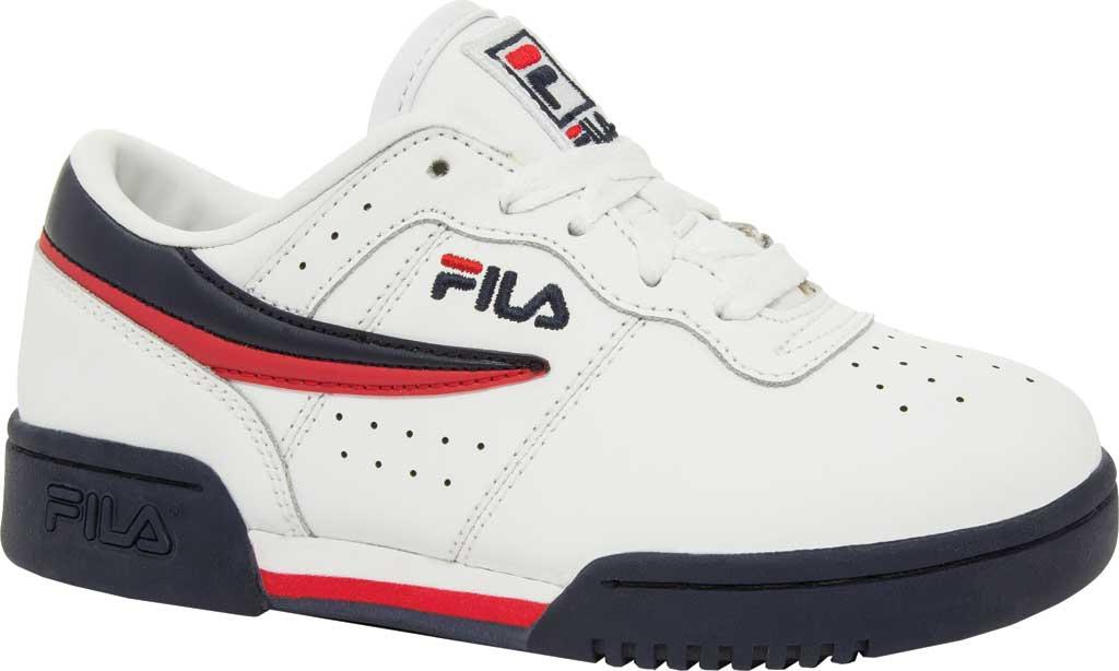 Children's Fila Original Fitness Sneaker, White/Navy/Red, large, image 1