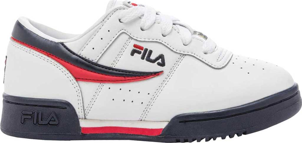 Children's Fila Original Fitness Sneaker, White/Navy/Red, large, image 2