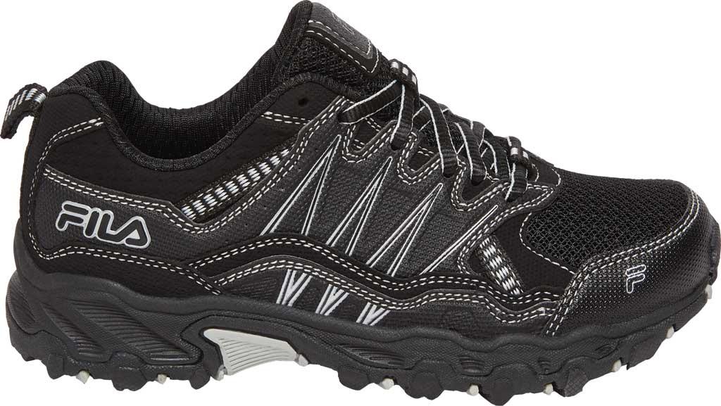 Children's Fila At Peake 21 Trail Shoe, Black/Black/Metallic Silver, large, image 1