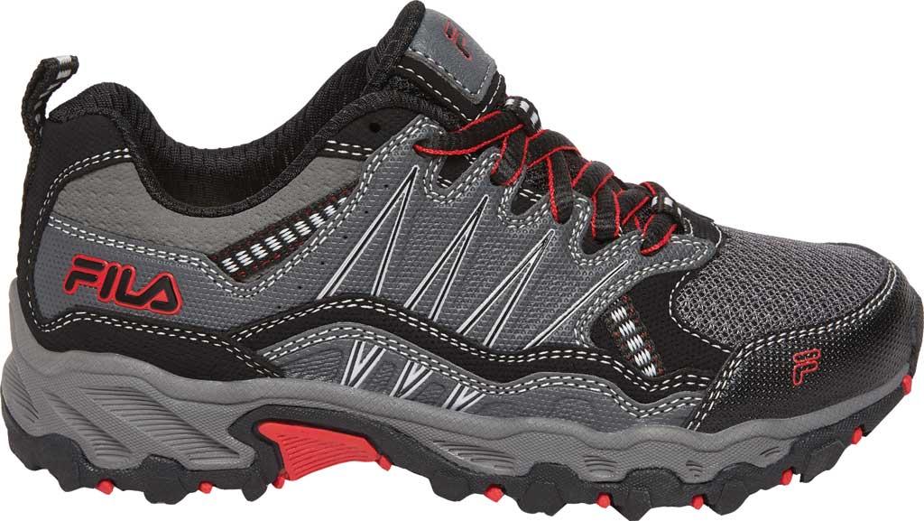 Children's Fila At Peake 21 Trail Shoe, Castlerock/Black/Red, large, image 1