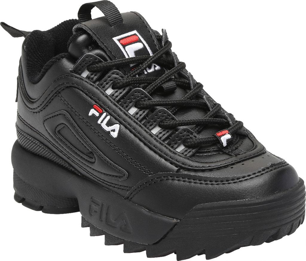 Children's Fila Disruptor II Premium Sneaker, Black/Black/White, large, image 1