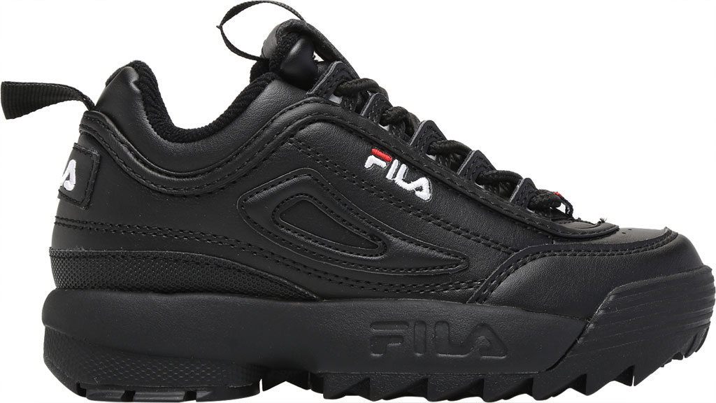 Children's Fila Disruptor II Premium Sneaker, Black/Black/White, large, image 2
