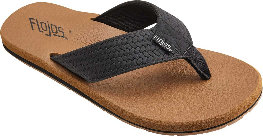 Men's Flojos Chase Flip Flop, Black/Tan Polyurethane, large, image 1