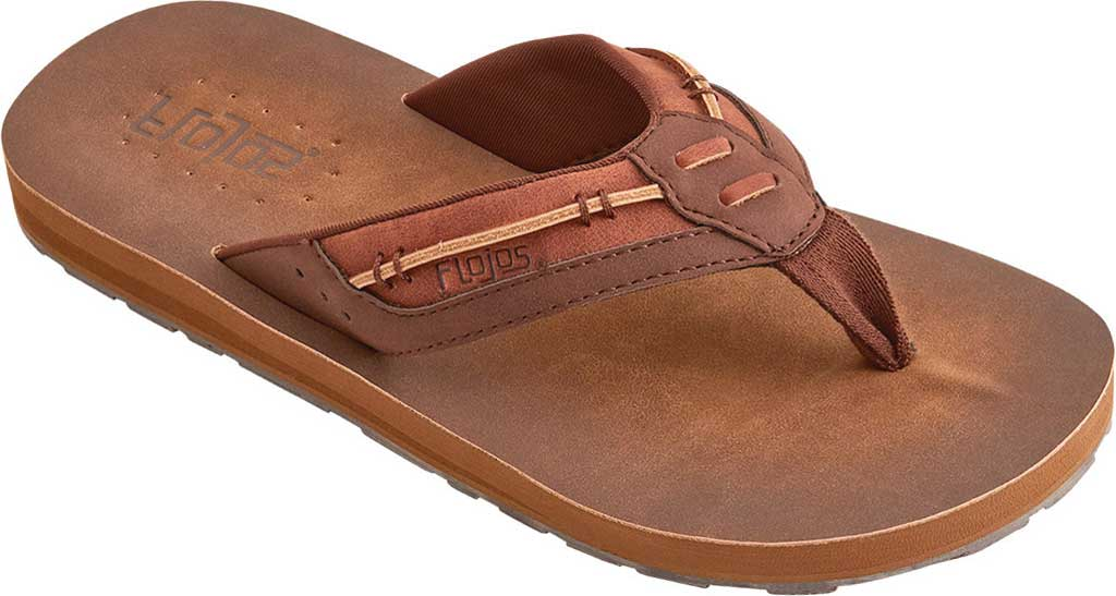 Men's Flojos Trio Thong Sandal, Brown Polyurethane, large, image 1