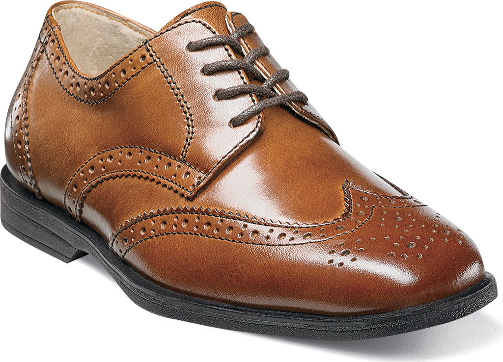 Boys' Florsheim Reveal Wingtip Jr., Cognac Leather, large, image 1