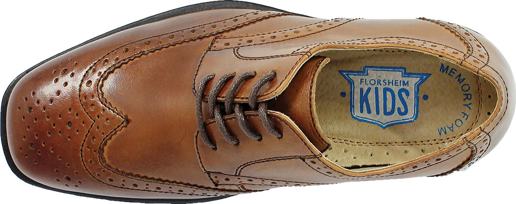 Boys' Florsheim Reveal Wingtip Jr., Cognac Leather, large, image 6