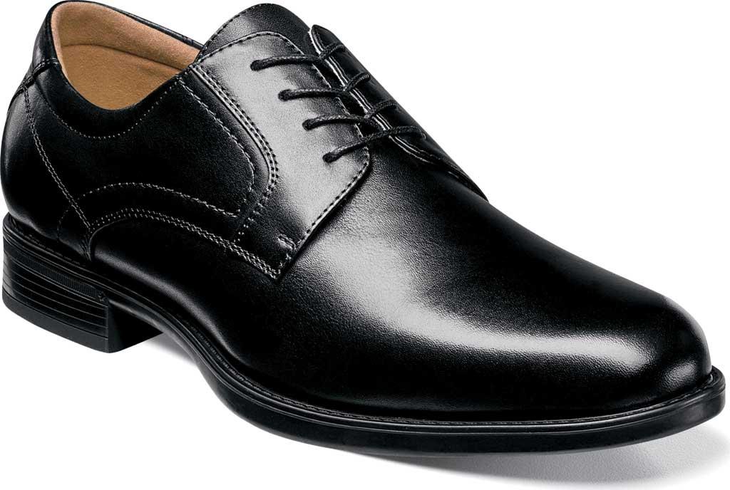 Men's Florsheim Midtown Plain Toe Oxford, Black Smooth Leather, large, image 1